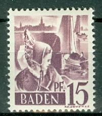 Germany - French Occupation - Baden - Scott 5N5 (SP)