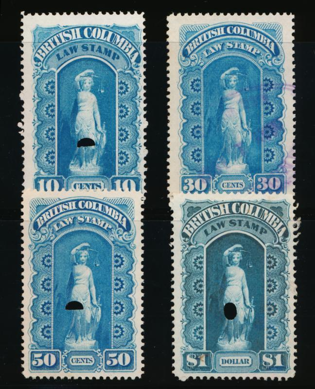 CANADA BRITISH COLUMBIA BCL1-4 USED 1ST SERIES, LAW