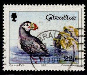 GIBRALTAR QEII SG597, 1988 22p atlantic puffin, FINE USED.
