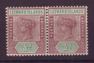 J16697 JLstamps 1890 leeward islands mnh pair #1 queen wmk 2