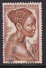 French Equatorial Africa     #182   used   1946   woman 15fr