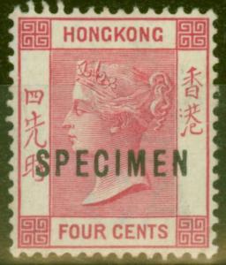 Hong Kong 1901 4c Carmine Specimen SG57s V.F Very Lightly Mtd Mint
