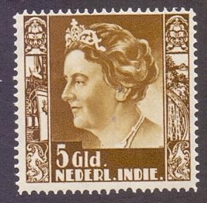 Netherlands Indies 1938   Mint Hinged  Wilhelmia  with watermark 5 gld    #