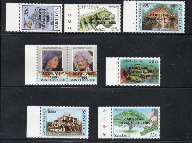 St Lucia Sc 795-802 1985 Royal Visit overprinted stamp set mint NH