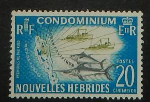 New Hebrides (Fr.) 115. 1965 20c Map, NH
