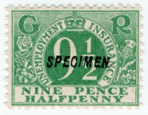 (I.B) George V Revenue : Unemployment Insurance 9½d (specimen)
