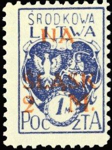 CENTRAL LITHUANIA / MITTELLITAUEN - 1921 Mi.24A 2M/1M Mint* - ref.881g