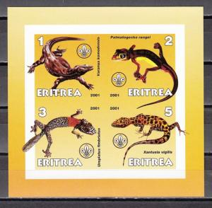 Eritrea, 2001 Cinderella issue. Lizards on a sheet of 4.
