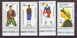 J22373 Jlstamps 1987 turkey cyprus set mnh #206-8 folk dancers