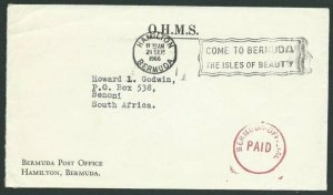 BERMUDA 1966 OHMS cover to South Africa - OFFICIAL PAID in red.............39937