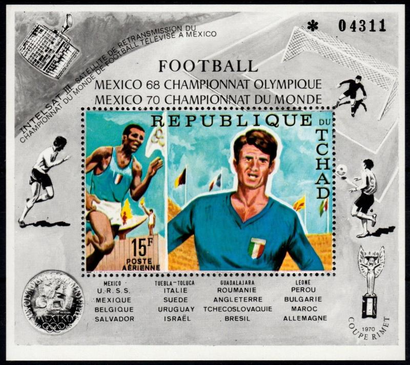 CHAD 1970 - WORLD CUP SOCCER MEXICO - MI. BLOCK 8 A ** MNH OG  [SP1.3]