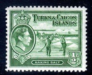 TURKS & CAICOS-,,,1938-45...SG 195  ..1/2d   MM  cv £9