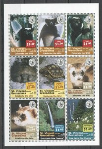 PK221 1997 ST.VINCENT FAUNA WILD ANIMALS CELEBRATE THE WILD 1KB MNH STAMPS