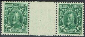 SOUTHERN RHODESIA 1931 KGV FIELD MARSHALL 1/2D MNH ** GUTTER PAIR PERF 11.5