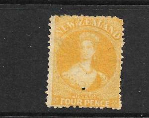 NEW ZEALAND 1865  4d  YELLOW   FFQ  MNG  P12 1/2    CP A4B2   SG 120 CHALON