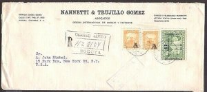 COLOMBIA 1953 Registered cover to USA - stamps with 'A' overprints.........33037