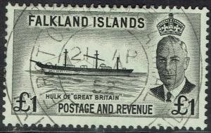 FALKLAND ISLANDS 1952 KGVI SHIP 1 POUND USED