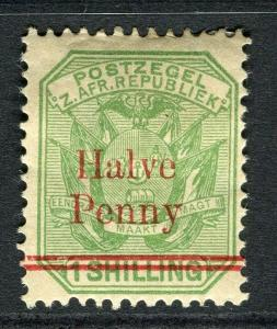TRANSVAAL; 1893 early surcharged issue ' Halve Penny ' mint hinged