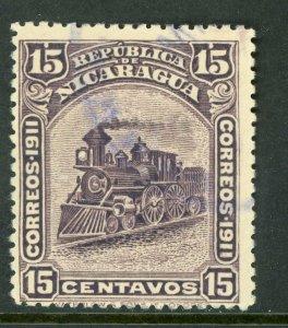 Nicaragua 1912 Bluefields Waterlow Train 15¢ Lilac Scott 1L116 VFU W478