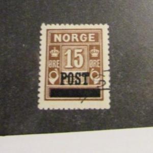 NORWAY Scott 138 Post overprint, crown & horn  Θ used, 15 post  fine + 102 card