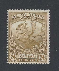 Newfoundland Stamp; #125-24c Trail of Caribou MH VF Guide Value = $60.00