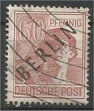 BERLIN, 1948, used 60pf  Overprinted Scott 9N14