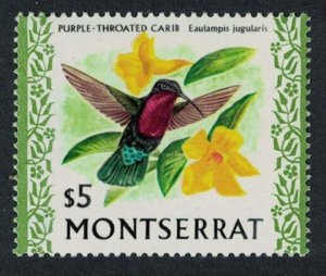Montserrat Purple-throated Carib Bird Orchid $5 Glazed Ordinary paper SG#254a