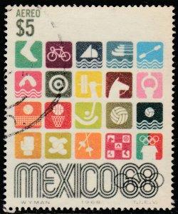 MEXICO C343, $5Pesos 1968 Olympics, Mexico City USED. F-VF. (1238)