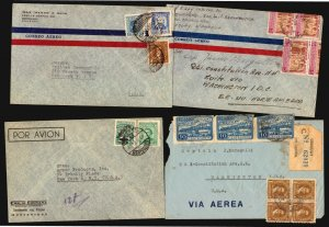 URUGUAY 26 AIRMAIL COVER LOT PLUNA  CENSOR OFFICIAL PANAGRA MILITARY MAIL TO USA