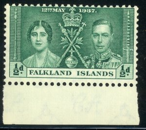 FALKLAND ISLANDS 1937 1/2d KGVI CORONATION Issue Sc 81 MNH