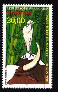 Mayotte MNH Scott #C3 30fr Pique-boeuf de Mayotte sur son Zebu