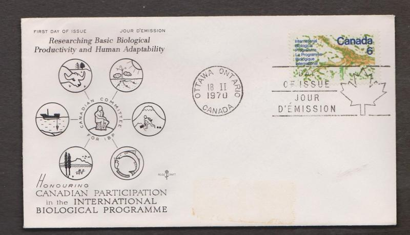 CANADA Scott # 507 On FDC - 1970 International Biological Programme Issue