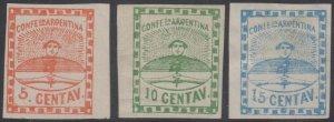 ARGENTINA 1858 CONFEDERATION Sc 1-3 MARGINAL FULL SET HINGED MINT