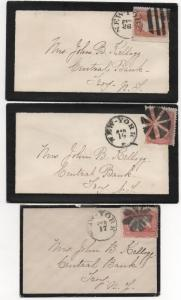 3 Mourning Covers sent to John Kellogg Central Bank Troy NY Fancy Cancels