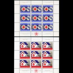 YUGOSLAVIA 1975 - Scott# 1273A-4A Sheets-Red Cross Cent. NH