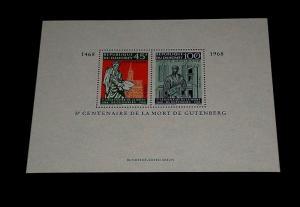 DAHOMEY #C70a, 1968, JOHANN GUTENBERG, SOUVENIR SHEET, MNH, NICE! LQQK