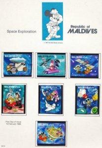 DISNEY MALDIVES 1273-1281 MINT NH SPACE EXPLORATION
