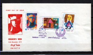 Persia, Scott cat. 1881-1883. Children`s Week, Art shown issue. First day cover.