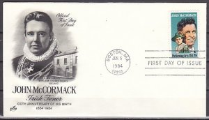 United States, Scott cat. 2090. Irish Tenor, J. McCormack. First day cover. ^