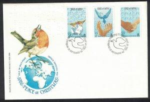 Isle of Man Birds Christmas International Peace Year 3v FDC SG#331-333