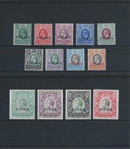 SOMALILAND 1912-19 SET OF THIRTEEN OVERPRINTED SPECIMEN MM SG 60s/72s CAT £325