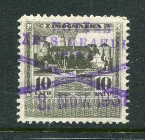 x96 - LATVIA 1934 Issue REVENUE Stamp. 10L Gray-Green. Used