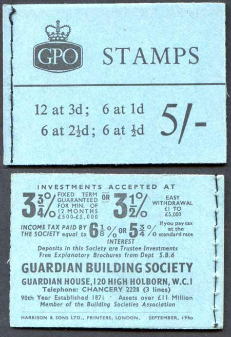 H46 Sept 1960 5/- Booklet BOTH 3d Cyl K15 No Dot Wmk upright on 2 1/2d pane