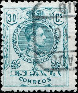 SPAIN - 1910 Mi.237Aa / Ed.275a 30c bluish green (A.065.254) medallón VF Used