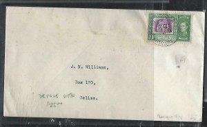BRITISH HONDURAS  (P2808B) 1952 KGV 1C DENGUE VIEJO TO BELIZE