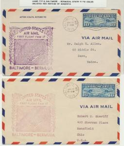 USA 1938, AAMC F17-2 BALTIMORE-BERMUDA 1sT FLIGHT COVERS(2) 1 WITH RARE RED H/S