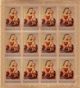Equatorial Guinea 1972 RAFFAEL FAMOUS PAINTINGS Sheetlet (12v) IMPERFORATED MNH