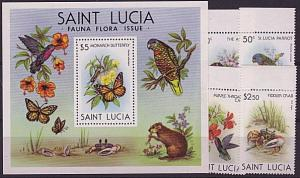 ST LUCIA 1980 Flora & Fauna set and souvenir sheet MNH......................4950