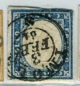 ITALY SARDINIA; 1855 classic Imperf issue used SHADE of 20c. value + POSTMARK
