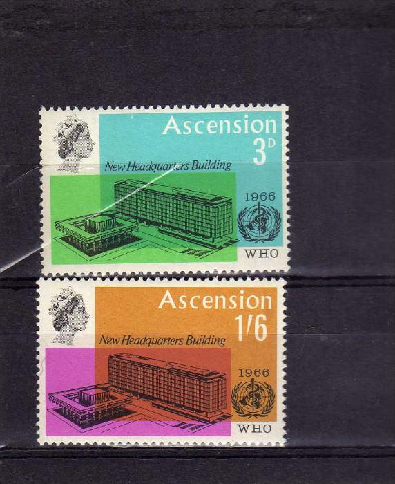 ASCENSION ASCENSIONE 1966 Inauguration of New WHO HEADQUARTERS BUILDINGS MNH